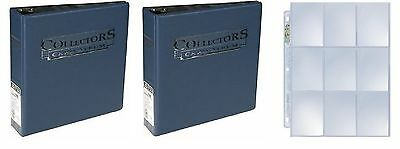 "Lot of 2 Ultra Pro 3"" Blue Collectors D-Ring Albums new box 100 9 pocket pages"