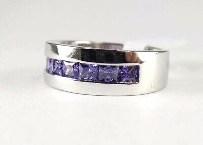 R#8312 simulated Purple Amethyst gemstone unisex silver band ring size 9