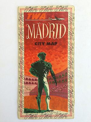 1954 Madrid Spain TWA Travel Brochure and Map