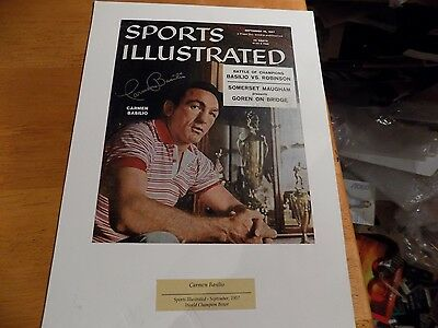 Carmen Basilio signed Sports Illustrated magazine page(only) matted display