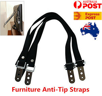 2x Anti Tip Straps Furniture Screen TV Safety For Saver Keep Your Child Safe