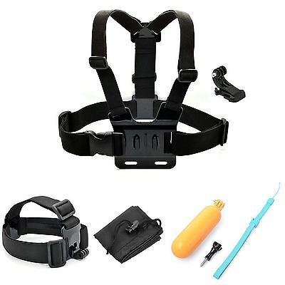 5-in-1 Accessory Bundle Kits Chest Head Strap Floating Bar Harness f GoPro 3 3+4