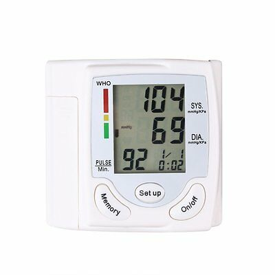 Blood Pressure Digital LCD Wrist Monitor Heart Beat Rate Pulse Meter Measure MC