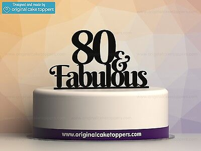 """""""80 & fabulous"""" Black - 80th Birthday Cake Topper - Made by OriginalCakeToppers"""