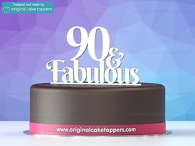 """""""90 & fabulous"""" White - 90th Birthday Cake Topper - Made by OriginalCakeToppers"""