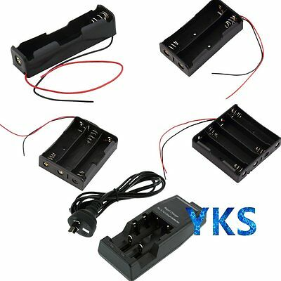 """Battery Storage Case Box Holder with 6"""" Wire Leads / AU DC Charger For 18650 IB"""
