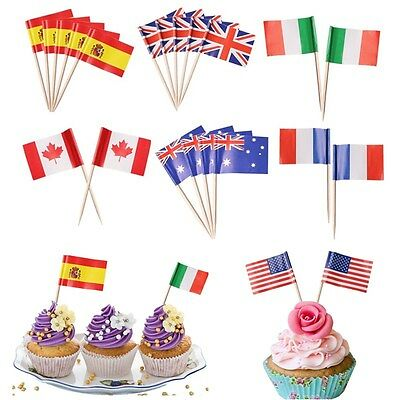 100pcs Mini Toothpick Pick Flags 11 Countries & World Flags America Russia