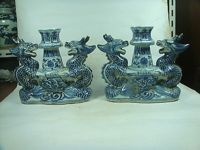 chinese antique pretty blue&white Candle holder   jh0027