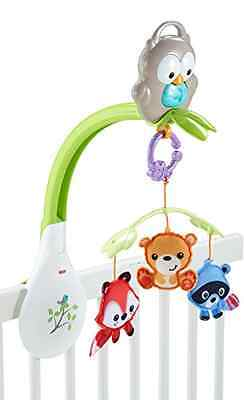 Fisher-Price Woodland Friends 3-In-1 Musical Crib Mobile Motorized Action New
