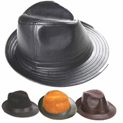 63eb4b138c03b2 New Men's 100% Real Cowhide Leather Black Bucket Cap/ Fedora hat /Gentleman  Hat