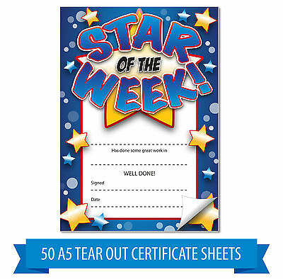 50x A5 Blue Star of The Week Tear Out Home Notes Certificates