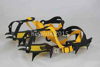 Outdoor 10-Teeth Points Climb Ice/snow Boot Shoe Covers Crampons Cleats Gripper