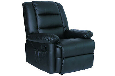 Luxury Recliner Massage Lounger Sofa Arm Chair Real Black Leather Gaming Cinema