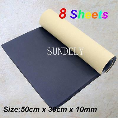 8Sheet Self Adhesive Closed Cell Foam 10mm Car Sound Proofing Insulation