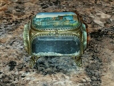 Antique French Ormolu Gilt Beveled Glass Jewelry Casket Niagara Rock Of Ages