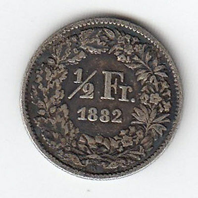 1882 Swiss 1/2 Frank - Nice Condition! (J)