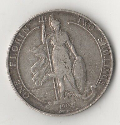 1903 King Edward VII Silver One Florin - Great Condition! (E)