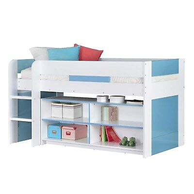 Cabin Bed Mid Sleeper Kids Bed 3ft Single with Ladder Blue White Boys Bedroom