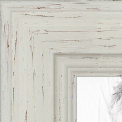 """ArtToFrames Custom Picture Poster Frame Pearl White Stain 1.5"""" Wide Wood"""