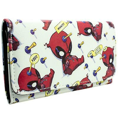 New Official Marvel Deadpool Chibi Quote Bubbles White Coin & Card Trifold Purse