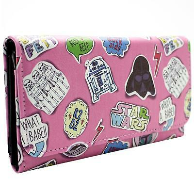 New Official Star Wars Themed Cut Outs Pink Coin & Card Tri-Fold Purse