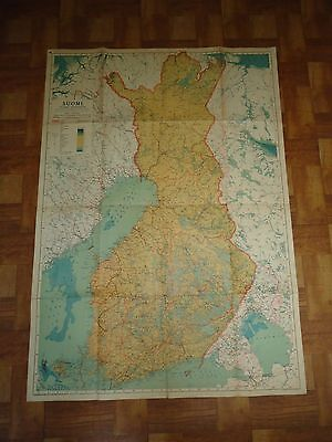 "SUOMI- Finland -Old Wall Map-Large- 1941-[47"" x 34""]-In Finnish Language- Detail"