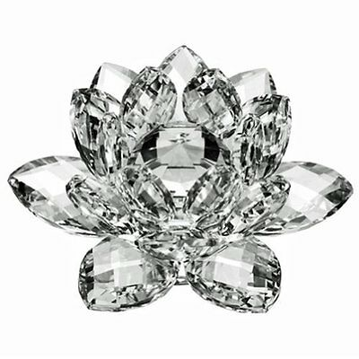 Sparkling Clear Crystal Lotus Flower Feng Shui Home Decor Gift Table Office