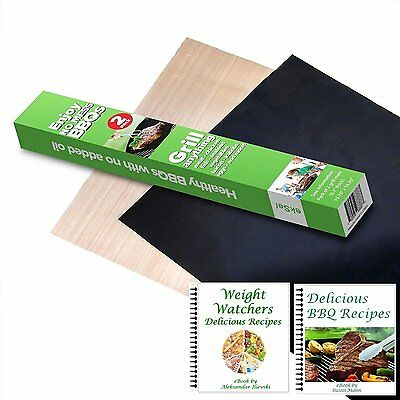 *NEW* PREMIUM BBQ Grill & Oven Mats, Set of 2, Non-Stick Grillling Cook Surface