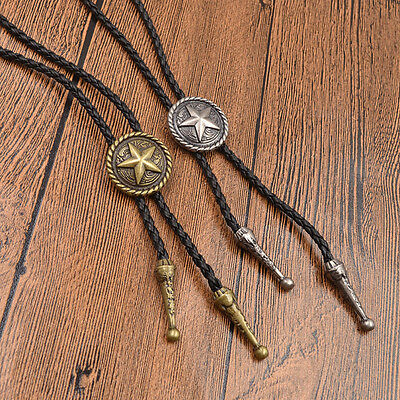 Leather Bolo Tie Necktie Rodeo Pendant Five-pointed Star Western Cowboy Pop Gift