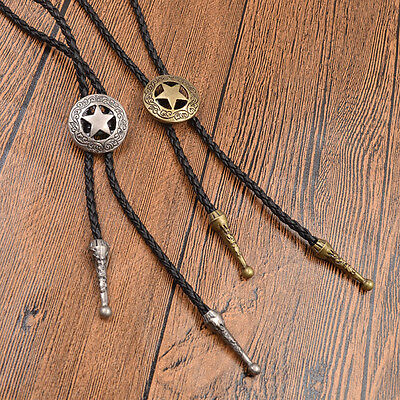 Star Bolo Tie Necktie Western Cowboy Necklace Hollow Out Charm Shirt Decor Gift