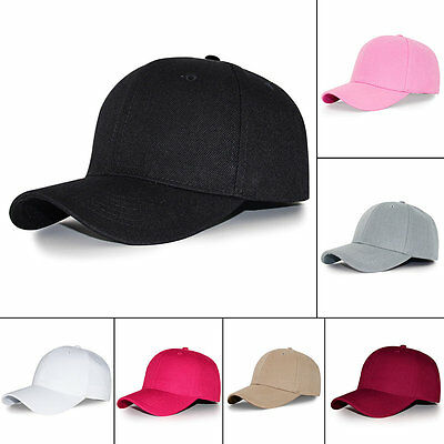 Adjustable Pure Color Blank Curved Plain Baseball Caps Good Visor Hat AU