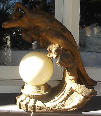 Rare Stunning Art Nouveau Plaster Statue Lamp On Wave Numbered