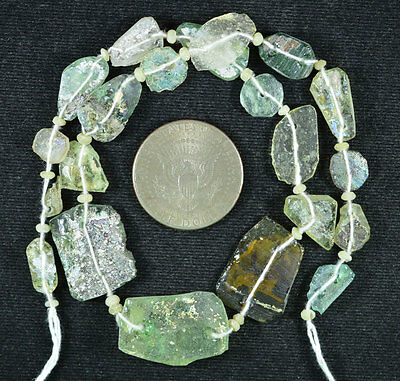 Ancient Roman Glass Beads 1 Medium Strand Aqua And Green 100 -200 Bc 540