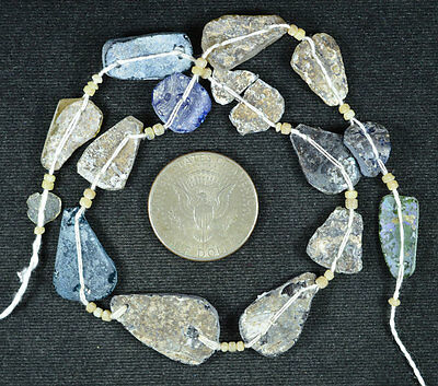 Ancient Roman Glass Beads 1 Medium Strand Aqua And Green 100 -200 Bc 551