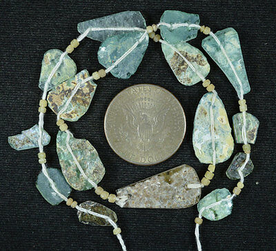 Ancient Roman Glass Beads 1 Medium Strand Aqua And Green 100 -200 Bc 550