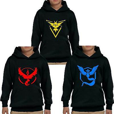 Pokemon Go Team Valor Team Mystic Team Instinct Pokeball nerd Kids Youth Hoodie