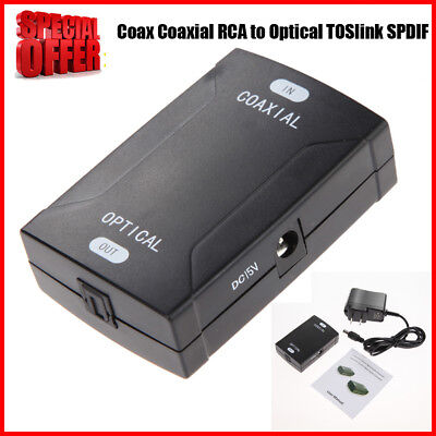 Coax Coaxial RCA to Optical TOSlink SPDIF Digital Audio Converter Adapter Black