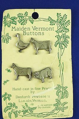 Maiden Vermont Danforth Pewter Buttons Farm Animals-Cows-Goose-Sheep 1984