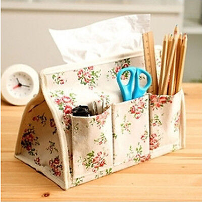 Home Pastoral Floral Tissue Box Case Paper Cover Container Bag Pen Key Pocket ED