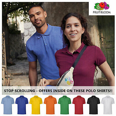 FRUIT OF THE LOOM Plain 65/35 Polo Shirts Unisex Men Women Tee T Shirt