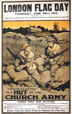 Original vintage poster LONDON FLAG DAY CHURCH ARMY 1916