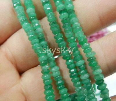 Fine! 2x4mm Faceted Natural Emerald Abacus Gems Loose Beads 15""