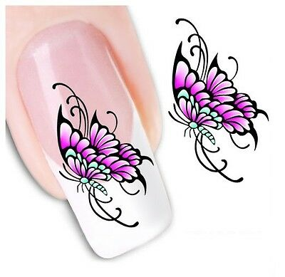 Nail Art Stickers Water Decals Transfers Butterflies (XF1217)