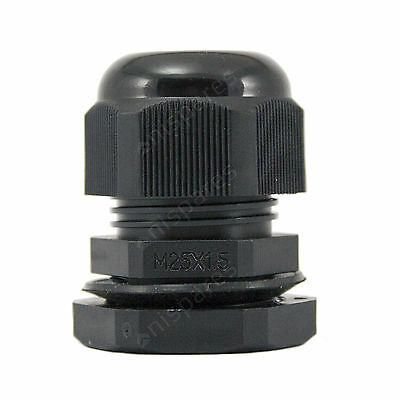 10 x 25mm Black IP68 Waterproof Compression TRS Cable Stuffing Gland Locknut M25