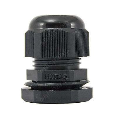 5 x 25mm Black IP68 Waterproof Compression TRS Cable Stuffing Gland Locknut M25