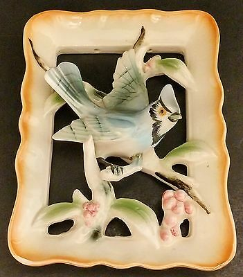 Vintage Inarco Ceramic Blue Jay Bird 3D Wall Plaque E-1801 - Japan