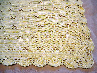 "Yummy Yellow Crocheted Baby Blanket 36""X45"" With A Beautiful Scalloped Border"