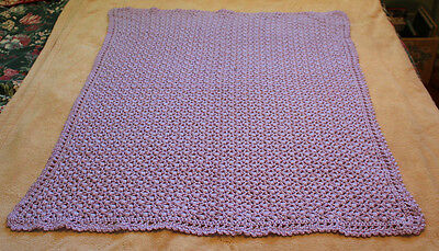 "Wonderful Soft Lilac Crocheted Baby Blanket 30""X38"""