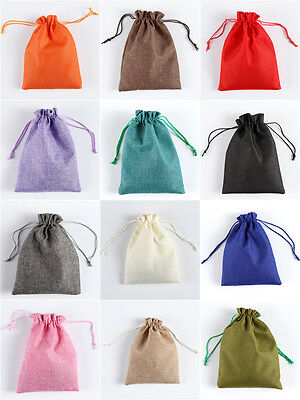 LINEN JEWEIIERY Drawstring Gift Bag POUCHES -12 COLOURS, 4 SIZES
