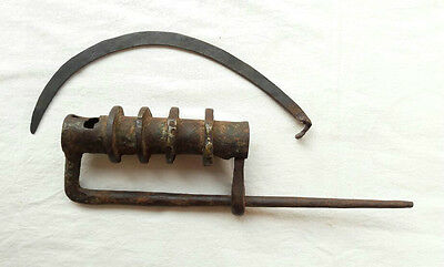 Rare Original 1800s Old Antique Tricky Unique Big Heavy Strong Iron Pad Lock Key